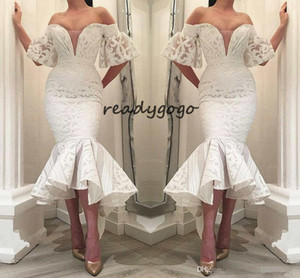 Gorgeous White Lace Mermaid Formal Evening Dresses 2019 Off Shoulder Ruffle Train Special Occasion Prom Party Gowns For Arabic Women Vestido on Sale