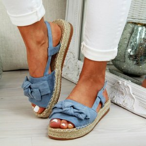 Wholesale MoneRffi Shoes Flats Shoes Woman Peep Toe Sandalia Feminina Bowknot Shoes Casual Platform Buckle Strap Hemp Flock Sandals LY191129