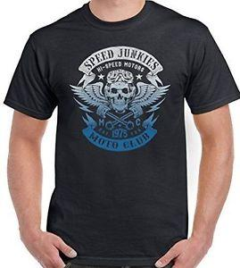 Wholesale High Speed Junkies Moto Club Mens Funny Biker T Shirt Motorcycle FunnyBike