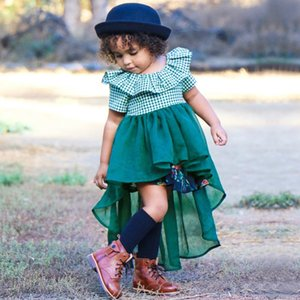 Wholesale Ins explosion children s clothing Europe and the United States summer girls fashion green mesh stitching mesh swallowtail irregular skirt