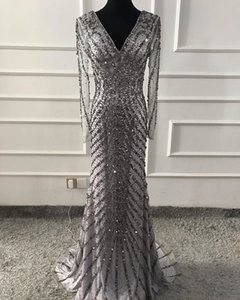 Wholesale Luxury Sequins Evening Dresses Sexy V Neck Sheer Long Sleeves Beaded Prom Gowns Formal Women Party Dress