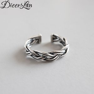 Wholesale Trendy Fashion Sterling Silver Weave Rings for Women Girls Punk Vintage Personality Lady Bridal Engagement Rings Anillos