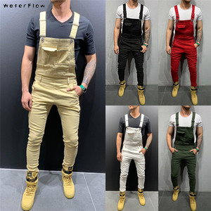 Wholesale 2019 Fashion Retro Design Slim Black Blue Denim Jumpsuit Shredded Cotton Jeans Denim Romper Jeans Male Bib Jumpsuit Jean Pants