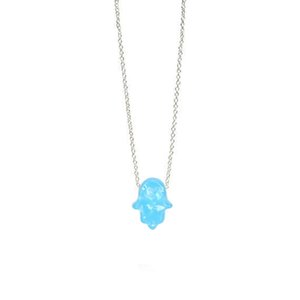 Wholesale Fashion White Blue Opal Hamsa Necklace Link Chain Synthetic Palm Hand Pendant Necklace For Women Girls Best Gifts C