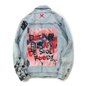 Wholesale Letter Mens Denim Jackets Letter Embroidery Splashed Broken Jean Jacket Fashion Light Blue Street Style Outfits Male Coat Size M XL