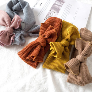 Wholesale Baby Girls Solid Elastic Hairbands Kids Soft Designer Autumn Winter Elastic Bow Hairbands Children Beautiful Hair Accessories HHA750
