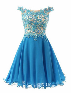 Wholesale Short Off Shoulder Elegant Homecoming Dresses Women's Fashion Blue Lace Bridal Gown Special Occasion Prom Bridesmaid Party Dress
