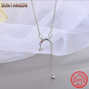 Wholesale Color Crystal Candy Rainbow Moon Shinny Sterling Silver Curved For Women Silver Chain White Crystal Star Pendant F446