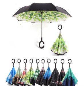 Wholesale 90 Styles Reverse Umbrella Double Layer Inverted Umbrella With C Handle Windproof Rain Car Inverted Umbrellas For Women Men