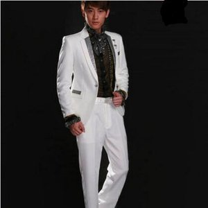 Wholesale Guanying Bird Costume Men s White Black Sequins Suit Set Singer Siyi Host Costume Chorus