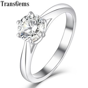 Wholesale Transgems Platinum Plated Silver ct mm H Color Heart Arrows Cut Moissanite Engagement Solitare Ring For Women Wedding Gift Y19032201