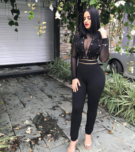 Wholesale Women One Piece Set V Neck Outfits Jumpsuits Half Sleeve Print Bodycon Pencil Full Length Long Pants Rompers Night Club Suit