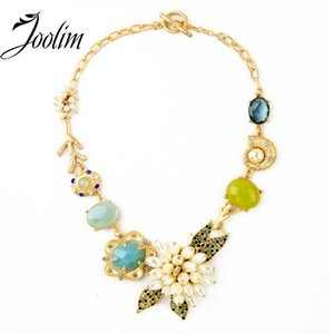 Wholesale JOOLIM Jewelry Wholesale  New Luxury Flower Statement Chokers Necklace Designer Jewelry Free Shipping