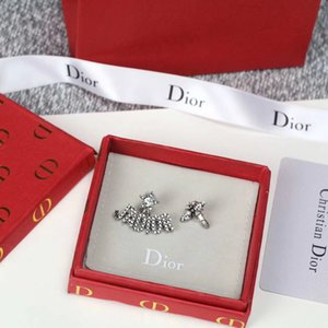 Retro style letter pearl rhinestone bee star AB earrings female temperament Korean version of the net red with the earrings on Sale