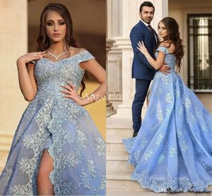 Wholesale Off Shoulder High Split Prom Dresses V Neck Zipper Back Lace Appliques Formal Party Evening Princess Gowns Vestido De Fiesta Customized