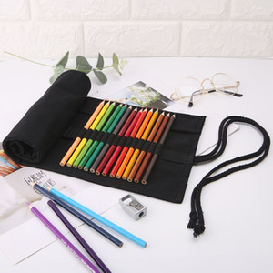 Wholesale Black Color School Pencil Case Roller Holes Canvas Roll Up Makeup Canvas Pen Bag For Girls Boys Stationery