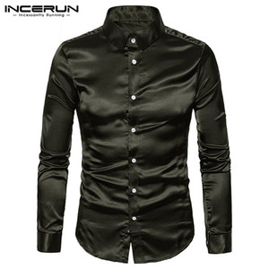 Wholesale INCERUN Casual Mens Shirt Silk Smooth Satin Slim Fit Long Sleeve Shiny Shirt Tops Men Dress Club Party S XL
