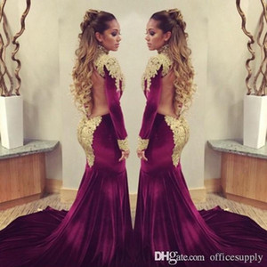 Burgundy Prom Evening Dresses 2019 Mermaid Long Sleeve High Neck Gold Sequins Beaded Long Formal Celebrity Pageant Gowns Sweep Train on Sale