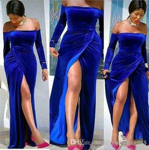Wholesale Plus Size Royal Blue Velvet High Side Split Sexy Prom Dresses For Black Girls Long Sleeves Off Shoulder Neck Evening Party Gowns Formal