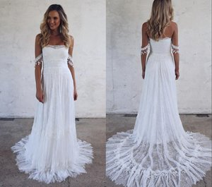 Wholesale Fashion Beach Summer Boho Wedding Dresses Off the shoulder with Sleeves Court Train Lace Designer Wedding Dress Bridal Gowns Cheap