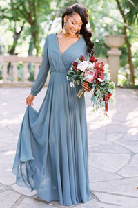 Romantic Bohemian V Neck Bridesmaid Dresses Long Sleeve Boho Wedding Guest Dress Chiffon Gowns Maid of Honor Dresses for Weddings Plus Size