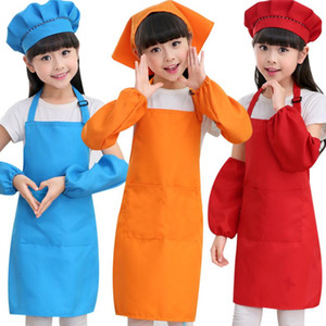 Wholesale Kids Aprons Pocket Craft Cooking Baking Art Painting Kids Kitchen Dining Bib Children Aprons Kids Aprons Colors DHL