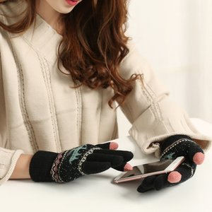 Wholesale Colorful Unisexy Fingerless Fitness Gloves Fawn pattern Thickening velvet Warm outdoor Fingerless Knitted Gloves DHL Free