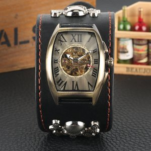 Wholesale Punk Automatic-self-winding Mechanical Watch with Skull Decorated for Men Vogue Bronze Dial Watches Premium Leather Band Wristwatch