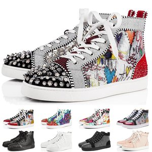 Wholesale Luxury Designer Sneakers Red Bottom shoe Low Cut Studded Spikes Brand Shoes For Men and Women Shoes Party Wedding crystal Leather Sneakers