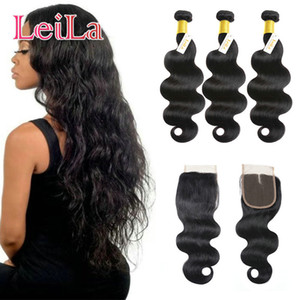 Wholesale dyed virgin peruvian hair resale online - Peruvian Virgin Hair Body Wave Bundles With X4 Lace Closure Unprocessed Human Hair Weaves Can Be Dyed Natural Color inch inch