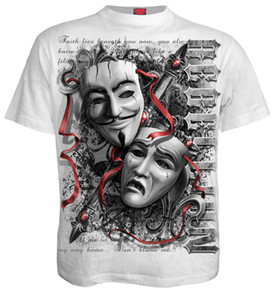 Wholesale Spiral Direct REBELLION T Shirts Skull Anonymous Mask Rock Vendetta Unisex Top Custom t shirt logo text photo Mens Womens T shirt