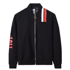 Wholesale Desginer Black Jacket Mens Baseball Jacket Zipper Stand Collar Letters Print Jacket Red White Stripe Windbreaker Top Quality Coat B100285V