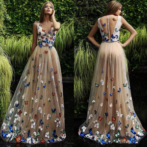 Wholesale Pageant Dresses Sexy deep V-neck Champagne Color Butterfly multilayer net and ground ball dress back zipper button custom package