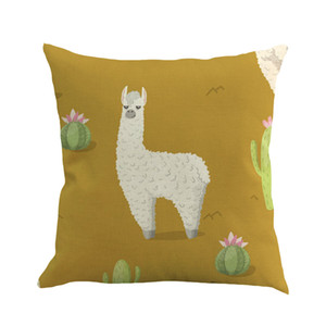 Wholesale HSU Hot Sale Cushions Printed Cartoon Alpaca Super Cute Cushion Pattern Pillowcase For Home House Couch Decoration coussin chat