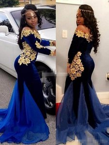 Arabric Mermaid Evening Dresses 2019 New Off Shoulder Appliques Sweep Train Black Girl Special Occasion Dress Modern Formal Party Prom Gowns on Sale