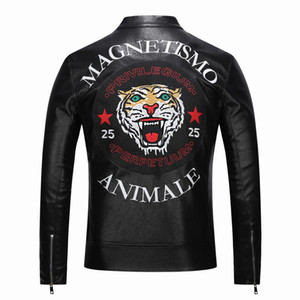 Wholesale new High quality new Spring fashion leather jackets men's Faux leather jacket brand motorcycle leather jackets Embroidery tiger
