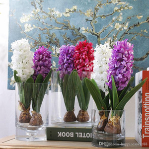 Wholesale flower bulbs resale online - Artificial flower hyacinth with bulbs ceramics silk flower simulation leaf wedding garden decor home table accessorie plant