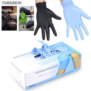 Wholesale 100pcs box Disposable Tattoo Latex Gloves Waterproof Non toxic S m l Finger Protector Tattoo Nail Accessory Supplies Black blue SH190729