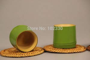 hot 20pcs Japanese Style Green Bamboo Section Tea Cup Water Beer Drinkware Tea Ceremony Utensils Eco-friendly