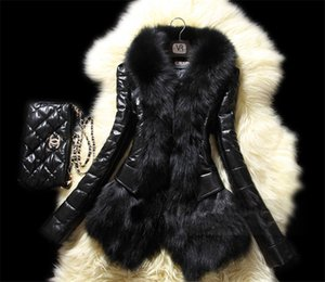 Wholesale 5XL Plus Size Womens Faux Fox Fur Black Long Sleeve Slim Womens Designer Winter Coats Casual Ladies Clothing