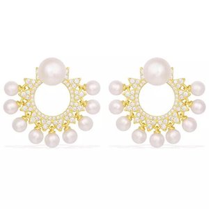 Wholesale B flower design luxury beautiful women Fashion nice quality silver material with pearl elegant fashion women earrings