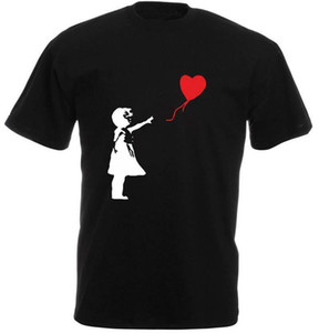 Black Cotton T Shirt Short Sleeve Summer Crew Neck Mens Banksy Balloon Girl Banksy Inspired Tee Shirt
