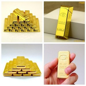 Wholesale Gold bar Brick Shaped Grinding Cigarette lighter Ultra thin Men Butane Metal Smoking flame lighter No Gas Styles Tool
