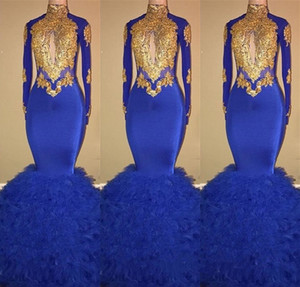 Royal Blue Black Girls Sweet 16 Dresses Mermaid High Neck Long Sleeve Gold Lace Appliques Ruffled Prom Dress Evening Gowns 2019 Formal Gown on Sale