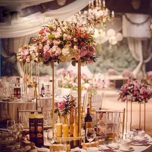 Wholesale 10PC Wedding Table Centerpiece Flower Vase Floor Vases Stand Metal Road Lead Flower Pot Rack for Wedding Party Decoration