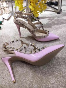 Wholesale women Luxury high heels dress shoes party fashion rivets girls sexy pointed toe shoes buckle platform pumps wedding Dress shoes