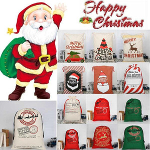 27 Styles Christmas Gift Bags Large Organic Heavy Canvas Bag Santa Sack Drawstring Bag With Reindeers Santa Claus Sack Bags for kids 30pcs