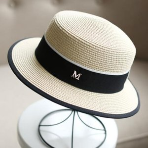 2019 new best selling comfortable British white women's straw hat M standard small hat visor flat top women's bag side summer flat shopping