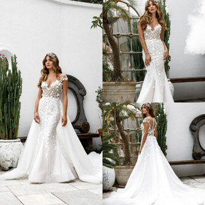 Wholesale 2019 Long Mermaid Wedding Dresses With Detachable Skirt Full Lace Appliqued Luxury Wedding Gowns Custom Made Country Bridal Dress Plus Size