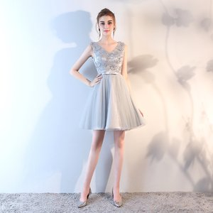 Wholesale Graduation dress very beautiful short skirt embroidered sleeveless waisted multi-layer short skirt backless sexy PROM dress silver
